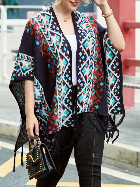 Plus Size Fringed Tribal Cardigan