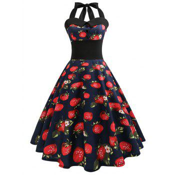 Plus Size Halter Strawberry Print Fit and Flare Dress