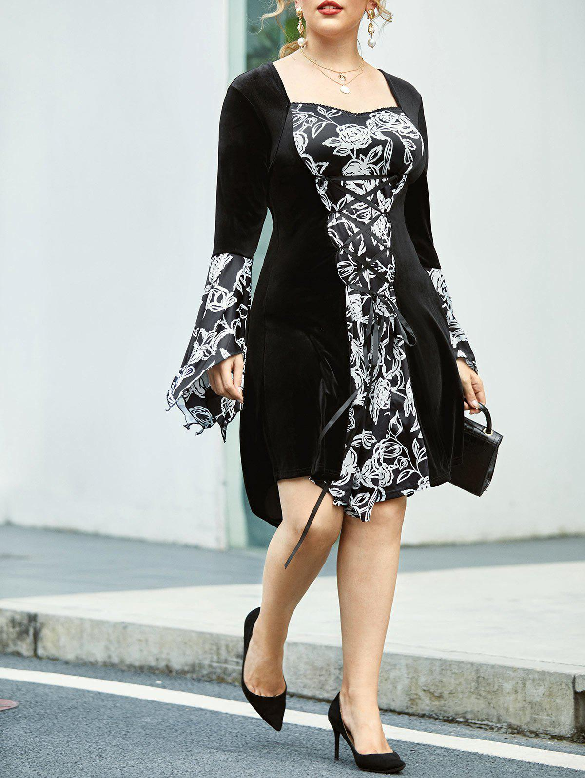Plus Size Bell Sleeve Floral Lace Up Dress - BLACK 5X