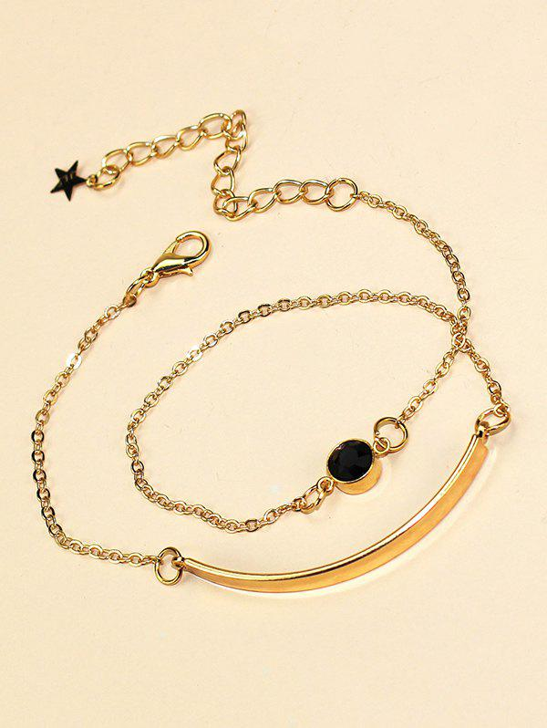 Faux Gem Long Chain Wrap Bracelet - GOLDEN