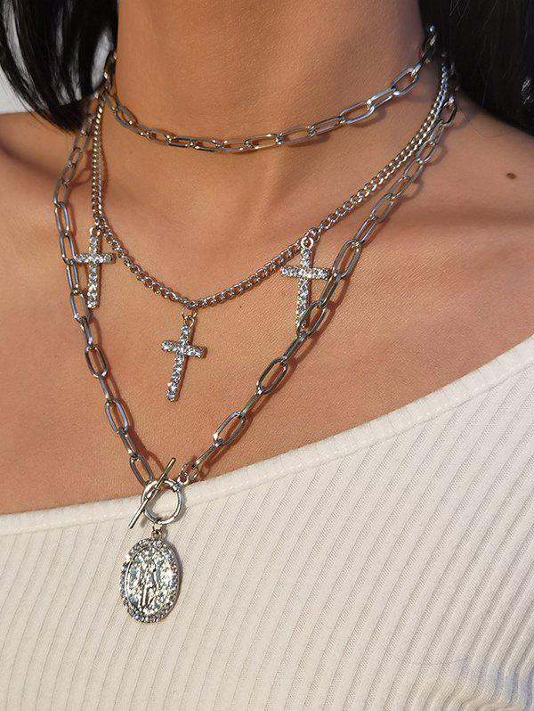 3Pcs Cross Rhinestone Engraved Pendant Necklace Set - SILVER
