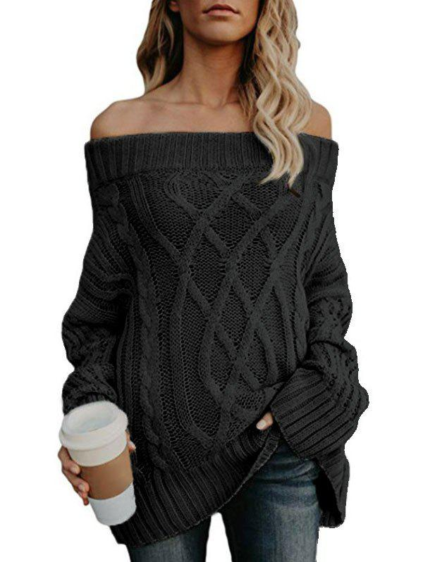 Off The Shoulder Cable Knit Chunky Tunic Sweater - BLACK XL
