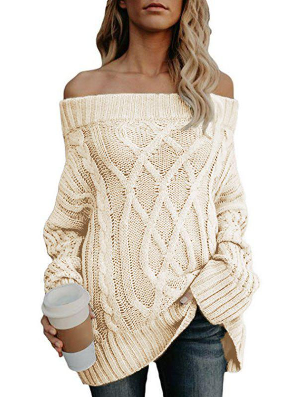 Off The Shoulder Cable Knit Chunky Tunic Sweater - WARM WHITE M