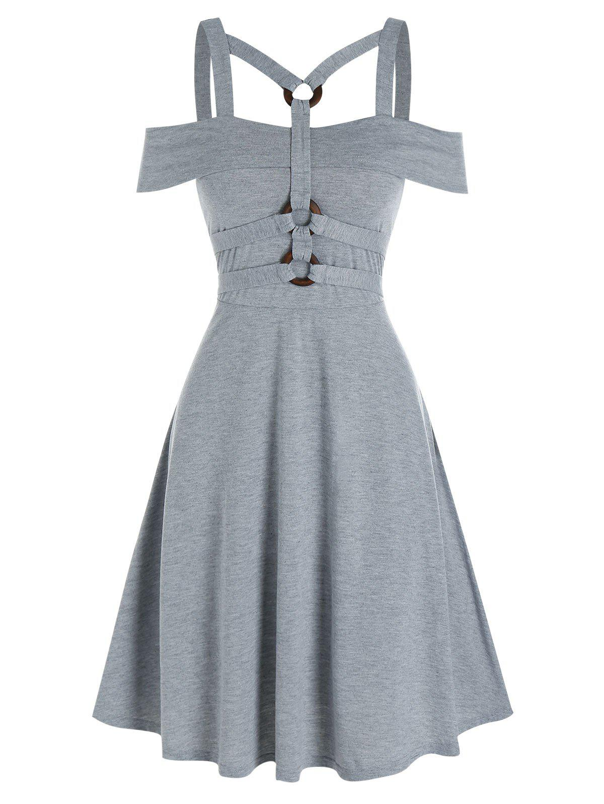 Plain Harness Insert High Waist Mini Dress - GRAY 3XL