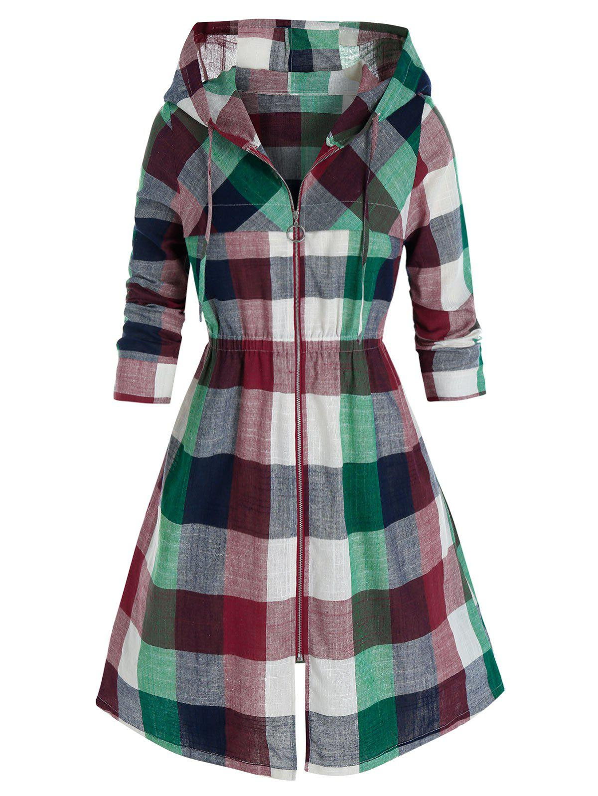 Plus Size Madras Plaid Hooded Zip Up Coat - RED WINE 5X