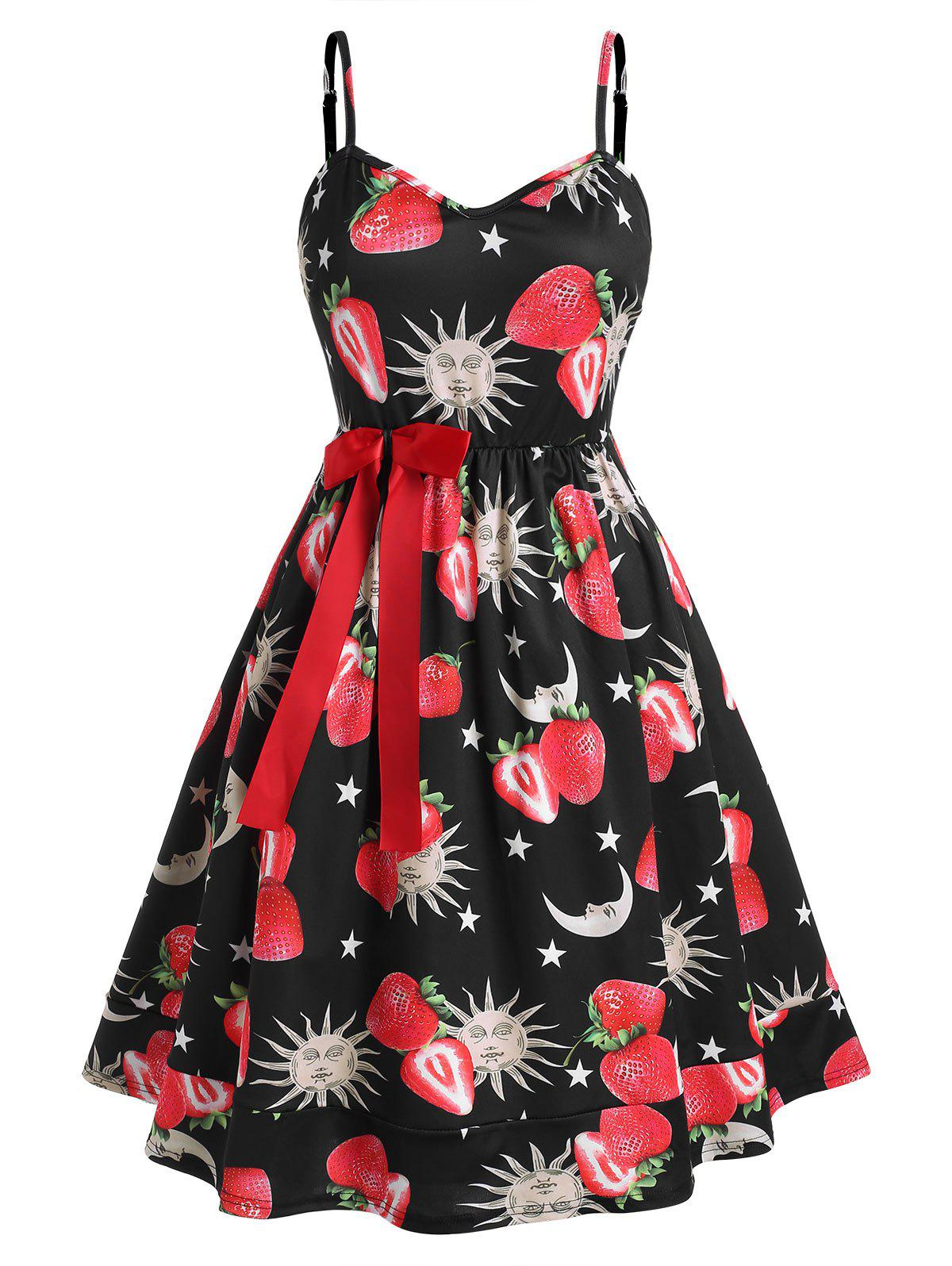 Plus Size Strawberry Sun and Moon Print Bowknot Dress - BLACK 5XL