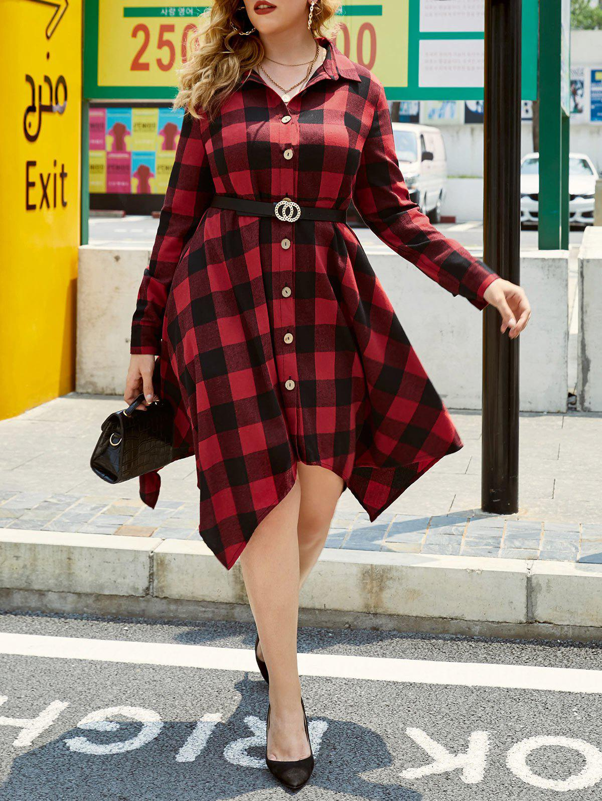 Plus Size Plaid Hanky Hem Button Up Shirt Dress - RED L