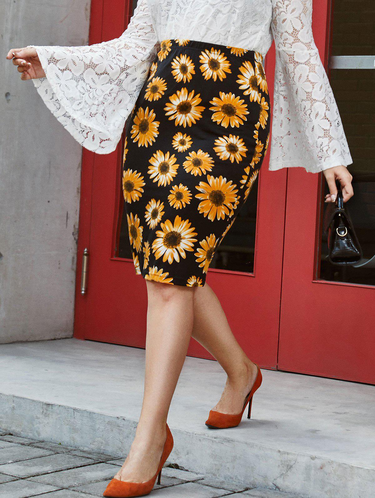 Plus Size Sunflower Print Fitted Skirt - BLACK 3XL
