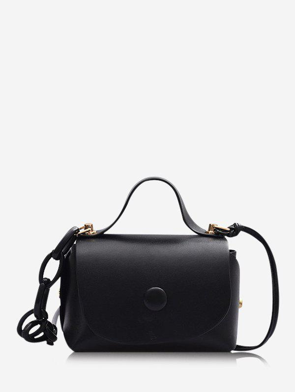 Solid Chain Cover Mini Crossbody Bag - BLACK