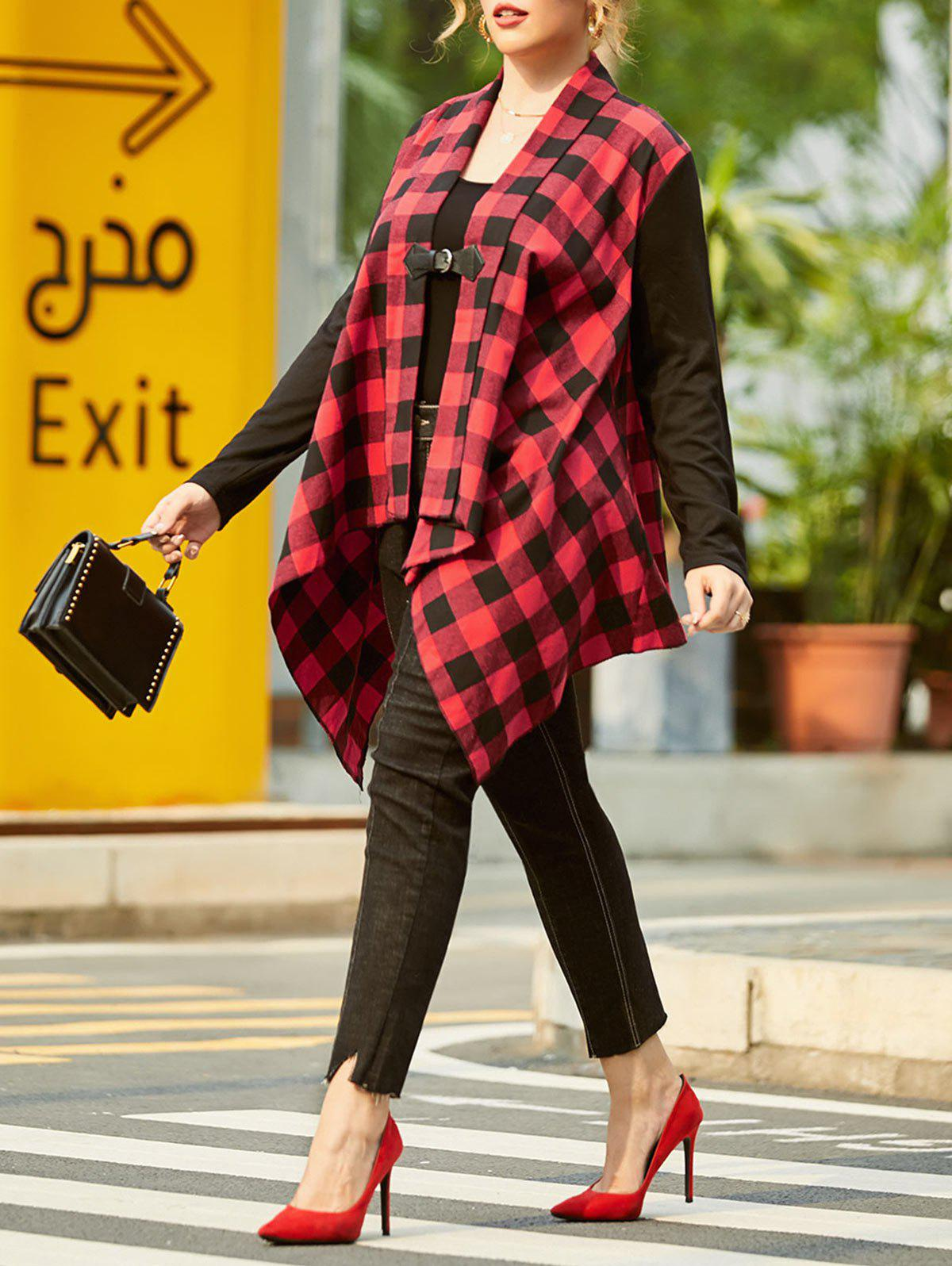 Plaid Buckle Front Shawl Collar Plus Size Coat - RED 3X