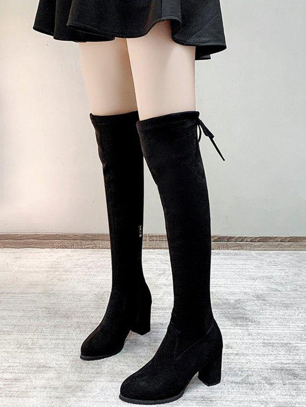 Over The Knee Velour Lace Up Chunky Heel Boots - BLACK EU 38