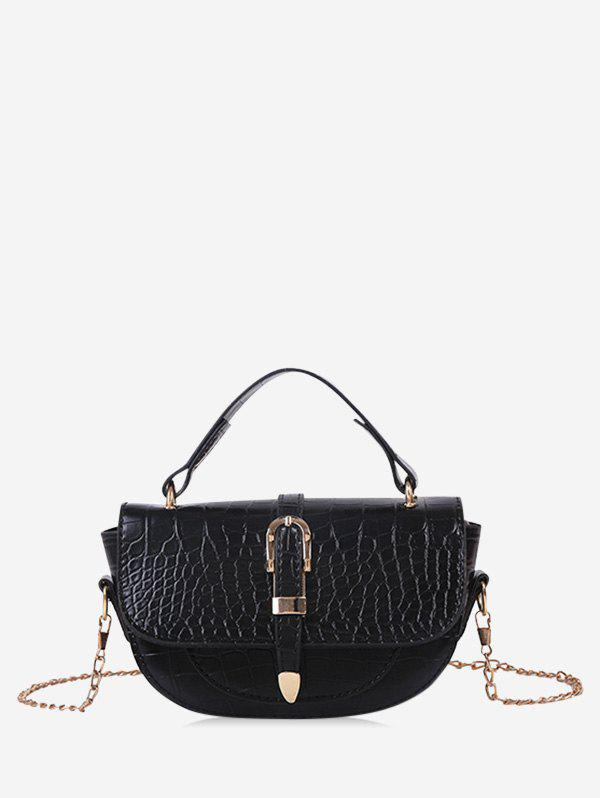 Textured Small Chain Saddle Hand Bag - BLACK