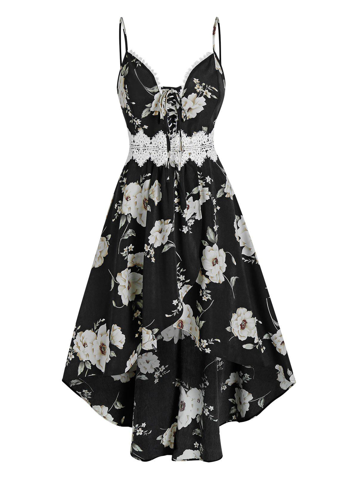 Bowknot Floral Print Lace Panel Cami High Low Dress - BLACK L