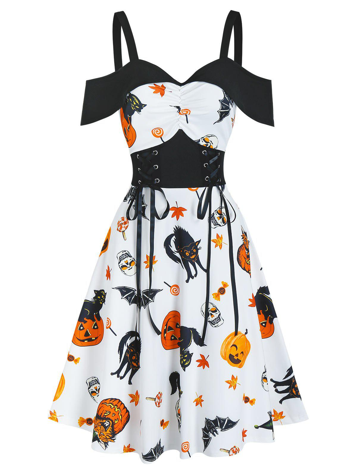 Robe d'Halloween Mi-Longue Linge A Citrouille Animal Imprimé à Lacets à Volants - Blanc S