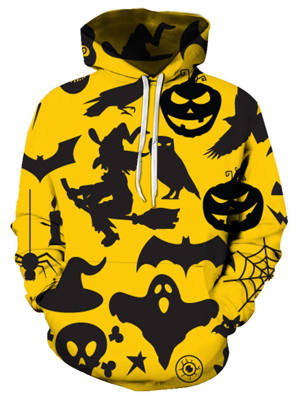 Halloween Pumpkin Silhouette Print Front Pocket Casual Hoodie - multicolor 3XL