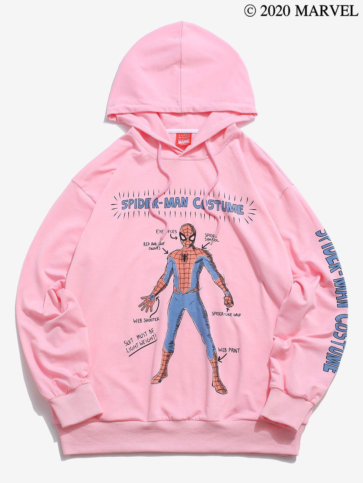 Marvel Spider-Man Letter Graphic Print Drawstring Hoodie - PINK XL