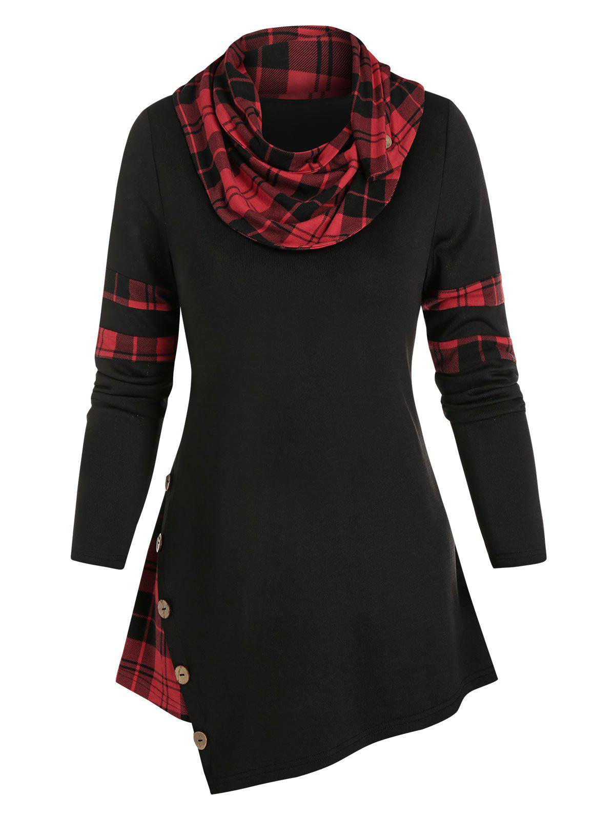Plaid Print Mock Button Asymmetrical T-shirt - BLACK M