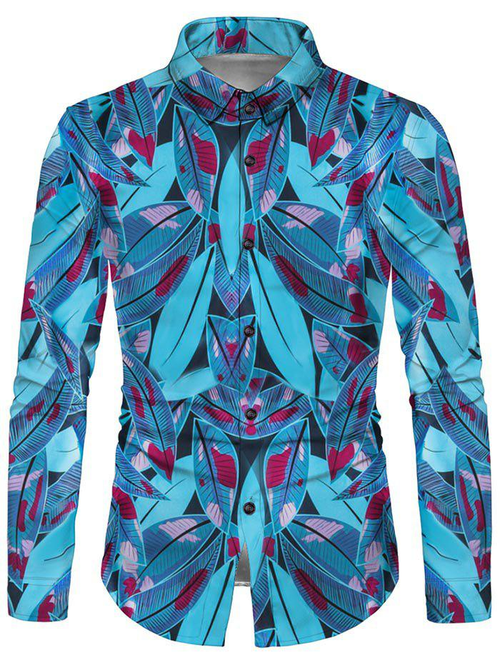 Leaves Print Button Up Curved Hem Shirt - multicolor L