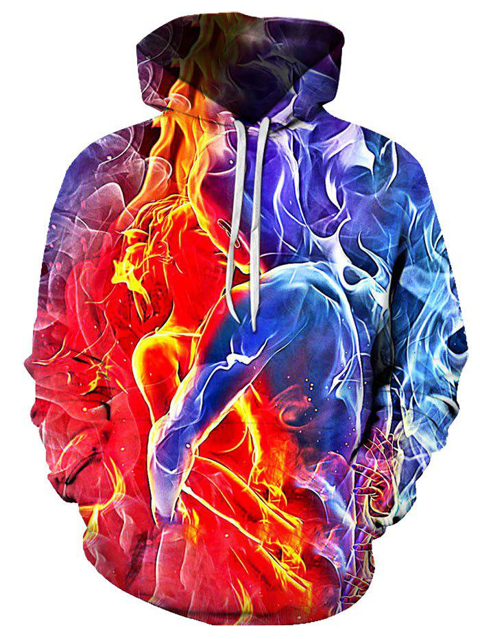 Ice and Fire Couples Pattern Front Pocket Casual Hoodie - multicolor 2XL