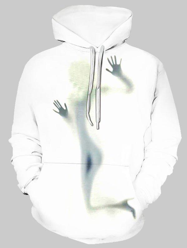 Girl Shadow Graphic Front Pocket Casual Hoodie - multicolor 3XL