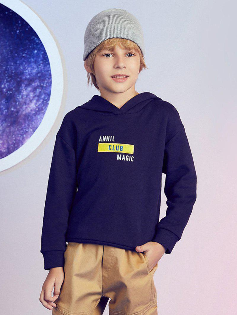 Letter Graphic Pattern Pullover Boys Hoodie - DEEP BLUE 170