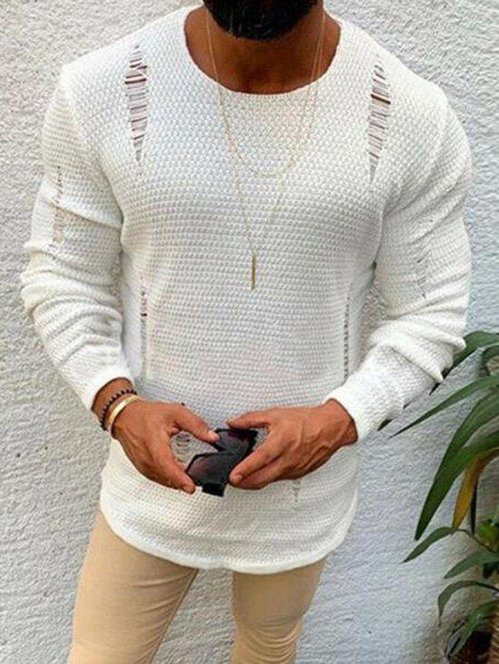 Pure Color Ripped Knitted Sweater - WHITE S