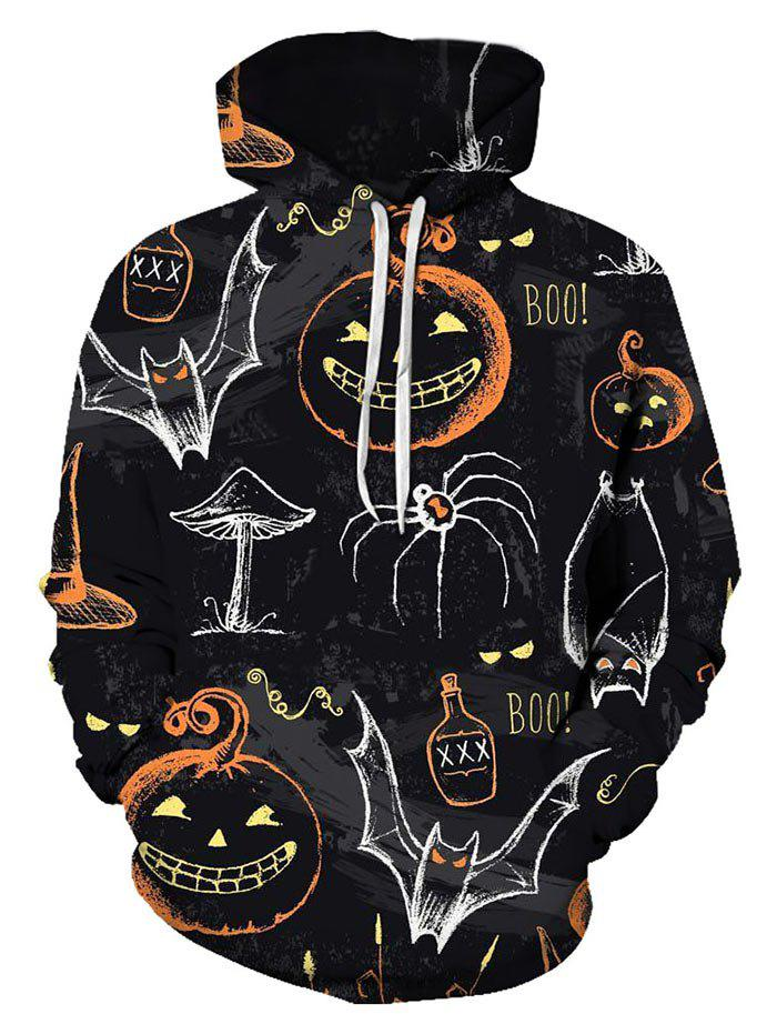 Halloween Graffiti Pumpkin Print Leisure Pullover Hoodie - multicolor L