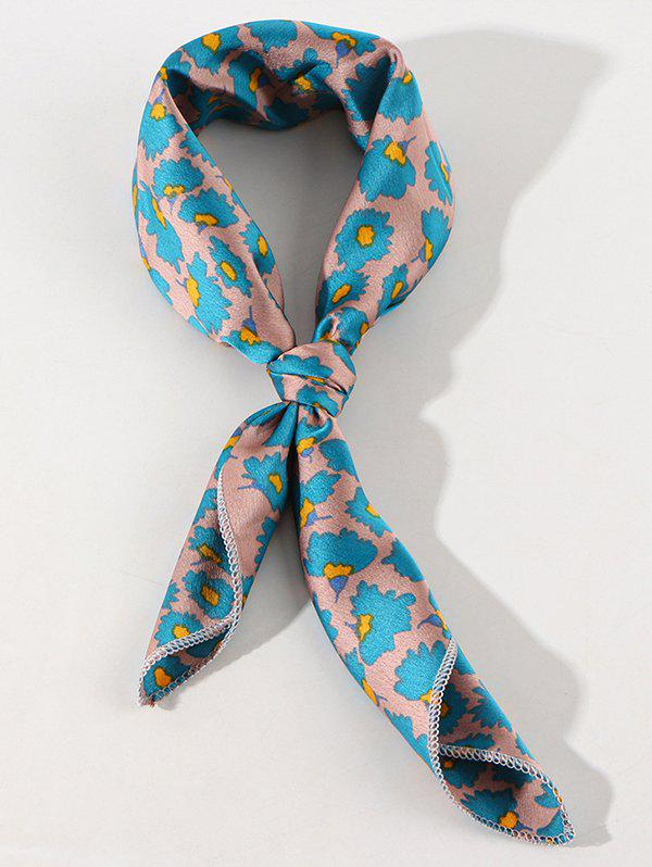 Satin Ditsy Floral Printed Square Scarf - SILK BLUE