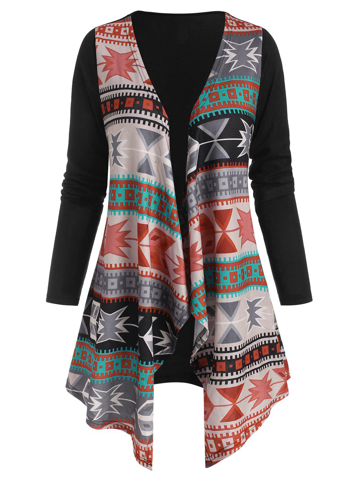 Tribal Waterfall Collar Open Front Cardigan - multicolor S