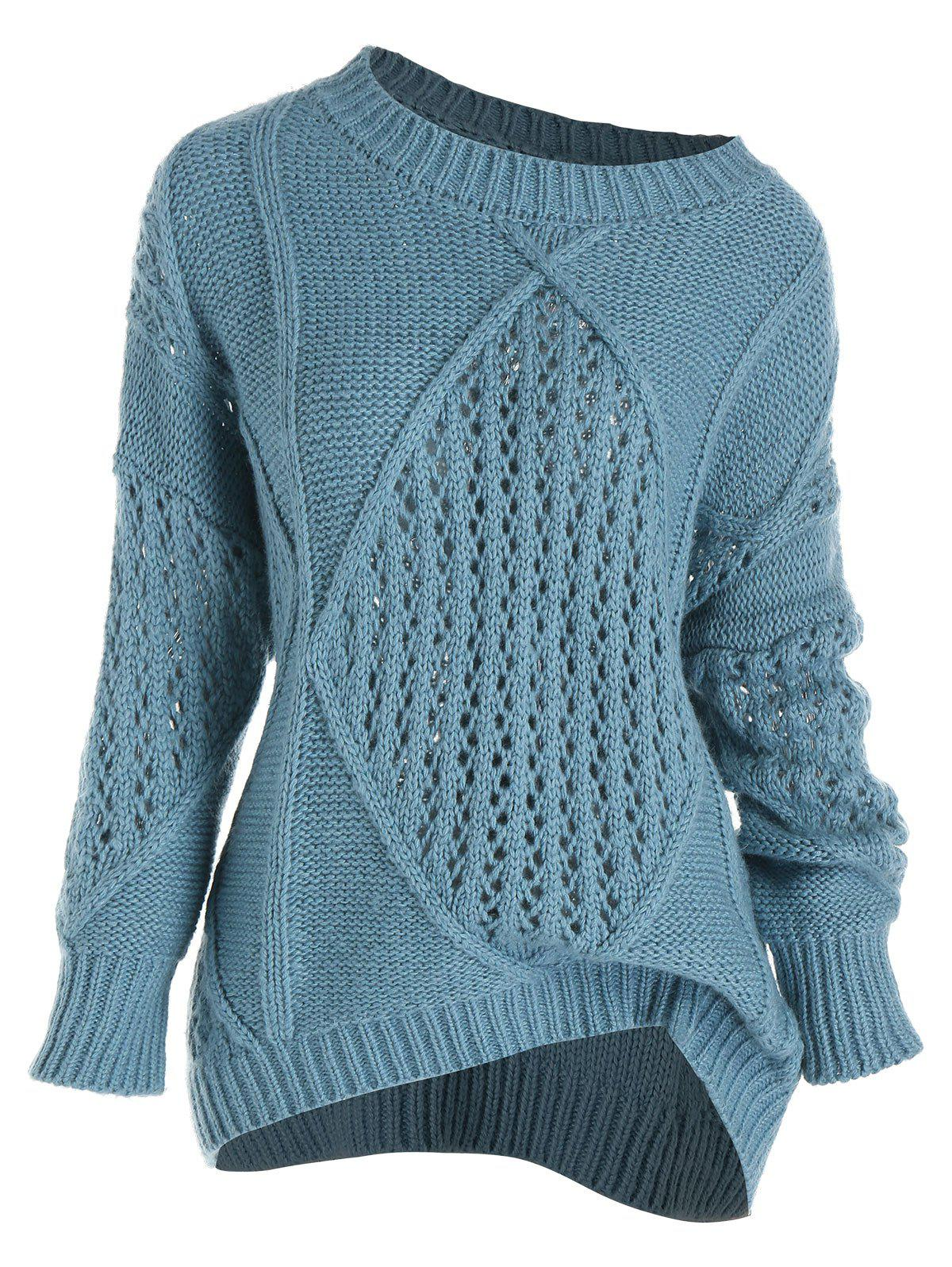 Plus Size Mixed Open Knit Drop Shoulder Sweater - BLUE 1X