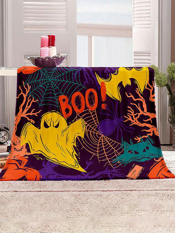 Halloween Ghost Spider Pattern Multifunction Blanket - multicolor W31.5 X L47 INCH
