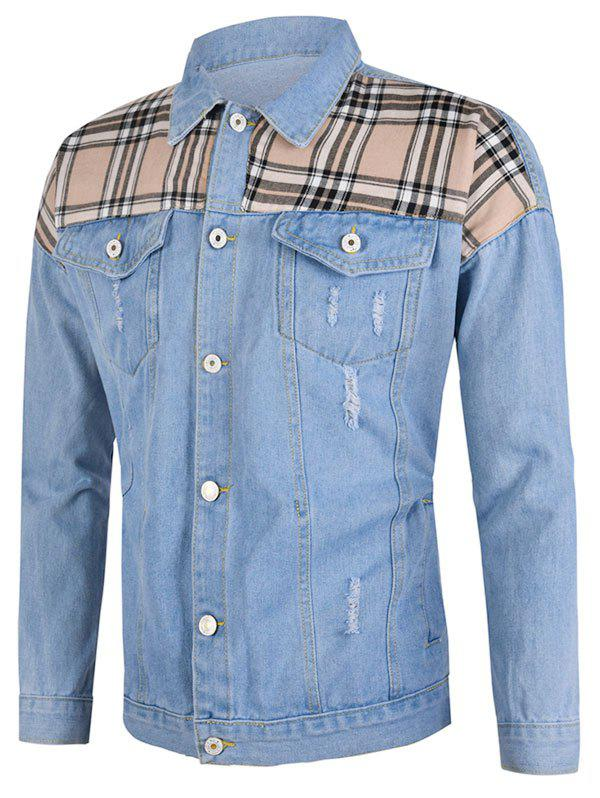 Plaid Patch Ripped Flap Pocket Jean Jacket - LIGHT BLUE 2XL
