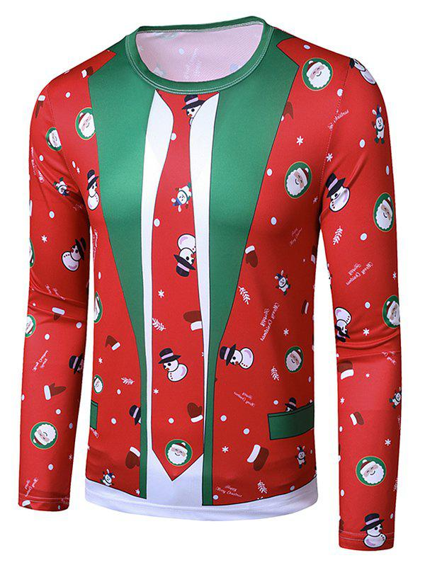 Christmas Santa Snowman Faux Suit Print Slim Crew Neck T Shirt - RED S