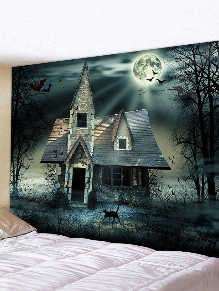 Halloween Night Bat House Print Decorative Wall Hanging Tapestry - multicolor W91 X L71 INCH