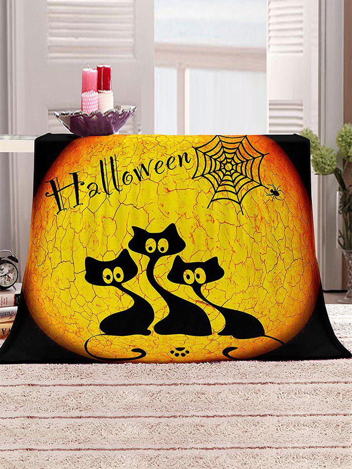 Halloween Cat Print Multifunction Cover Blanket - multicolor W31.5 X L47 INCH
