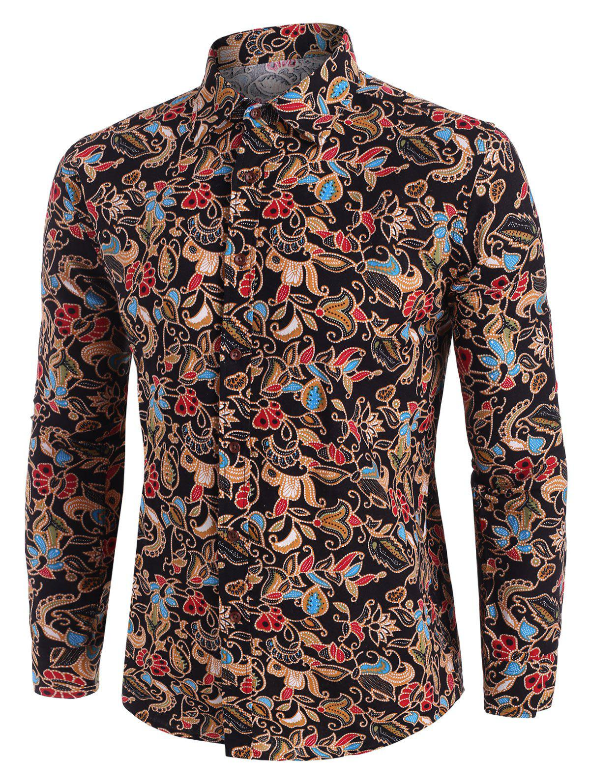 Floral Print Ethnic Style Long Sleeve Shirt - multicolor 2XL