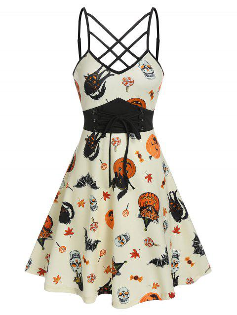 Halloween Printed Lace Up Cami A Line Dress
