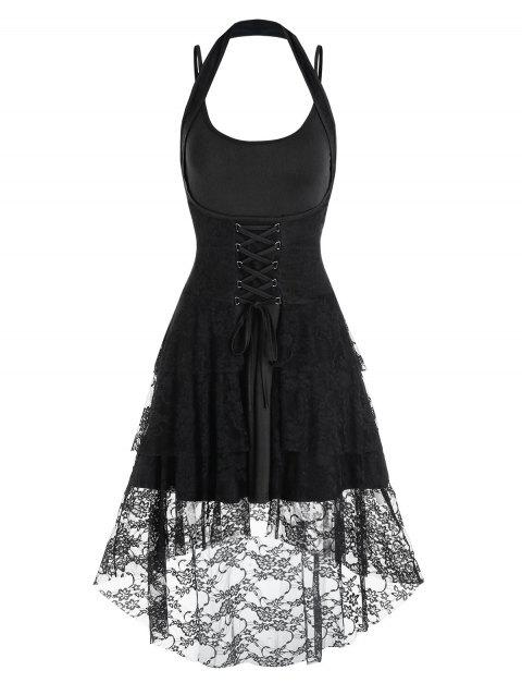 Lace-up Flower Lace High Low Skirt and Plain Dress