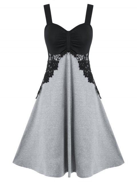Two Tone Lace Insert Cami A Line Dress