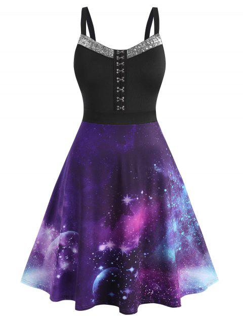 Plus Size Galaxy Hook and Eye Sequined Backless Dress