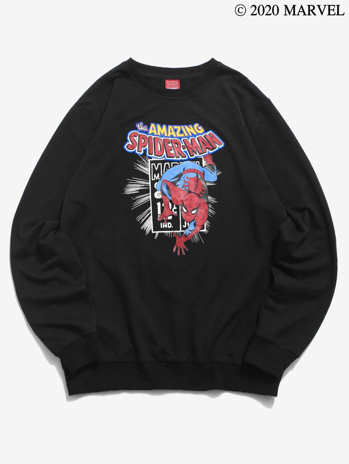 Sweat-shirt Lettre Graphique Marvel Spider-Man Imprimé - Noir 2XL