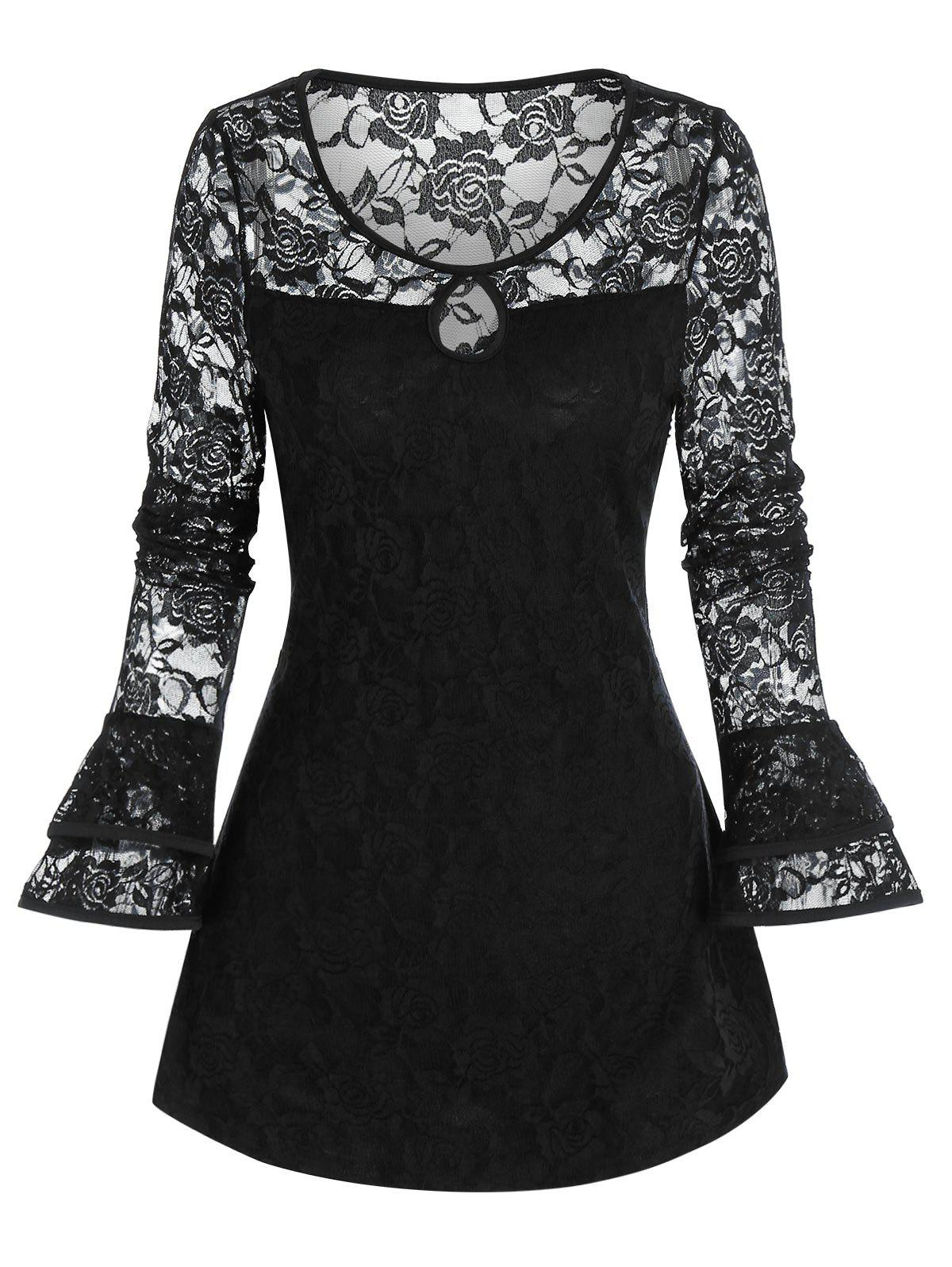 Gothic Lace Panel Keyhole Poet Sleeve Top - BLACK 3XL