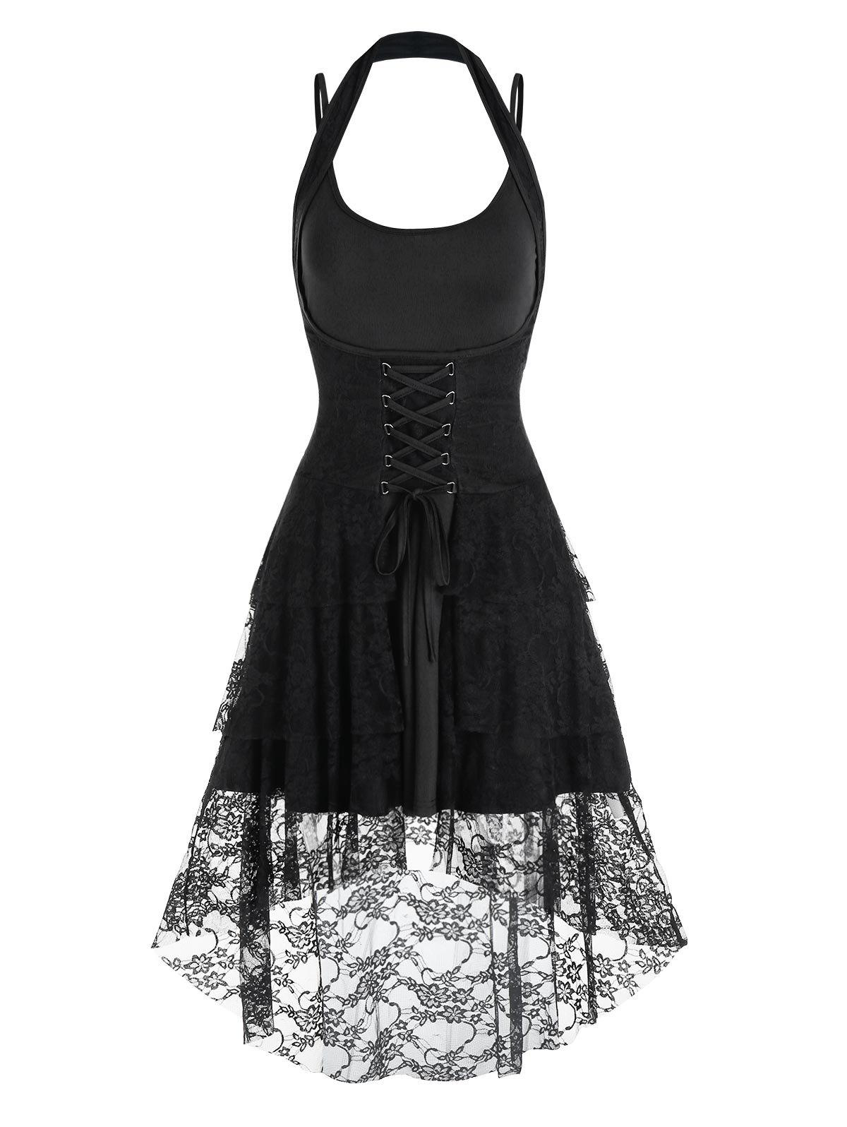 Lace-up Flower Lace High Low Skirt and Plain Dress - BLACK L