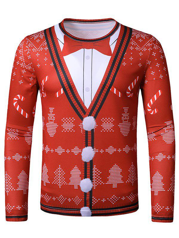 Christmas Candy Faux Suit Print Slim Leisure T Shirt - RED L