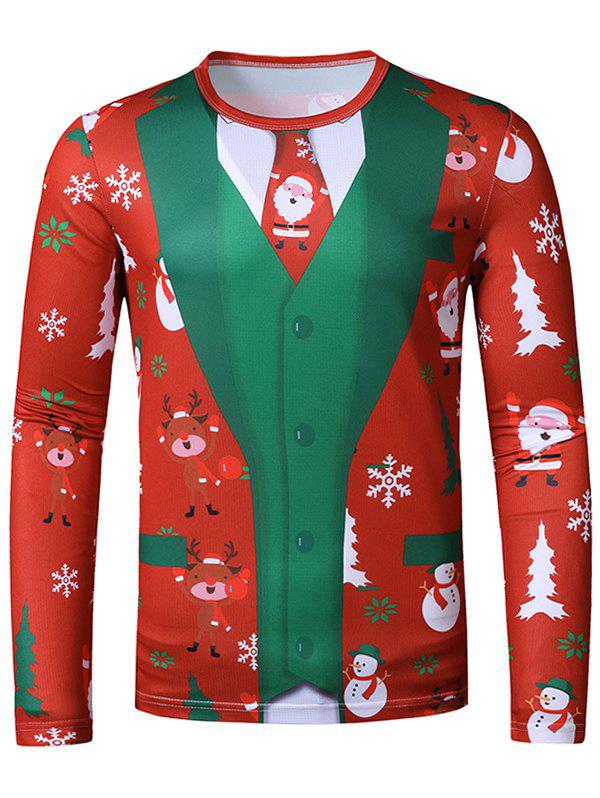 Christmas Santa Elk Faux Suit Print Slim Crew Neck T Shirt - multicolor XXL