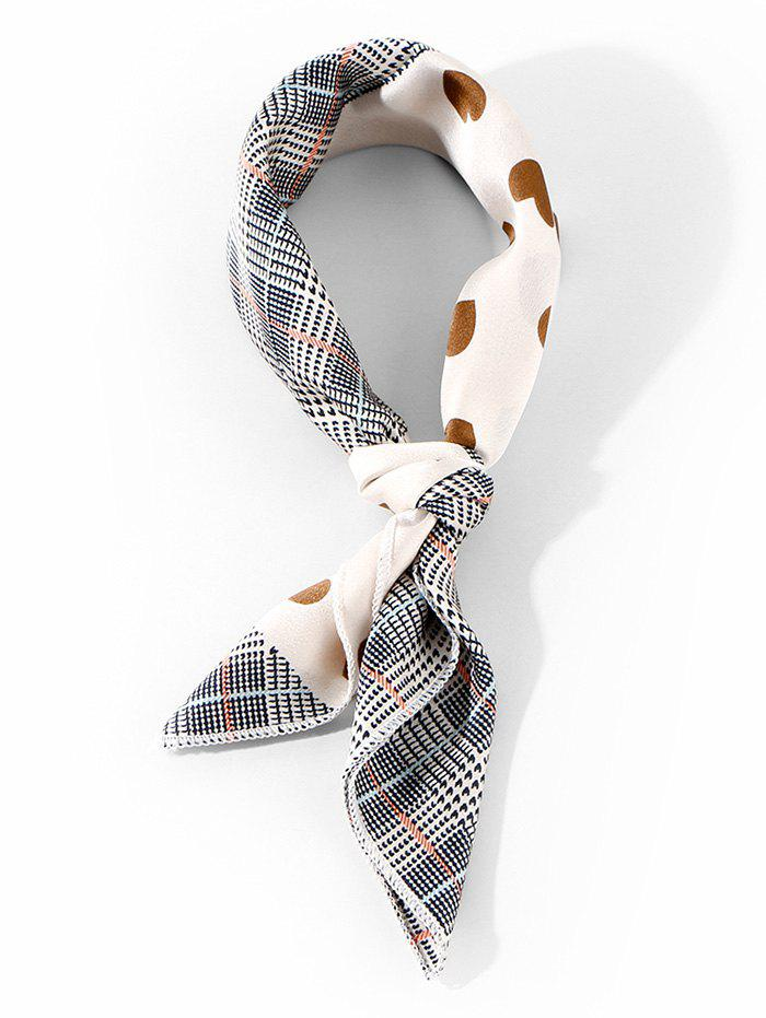 Plaid and Heart Print Square Satin Scarf - COFFEE