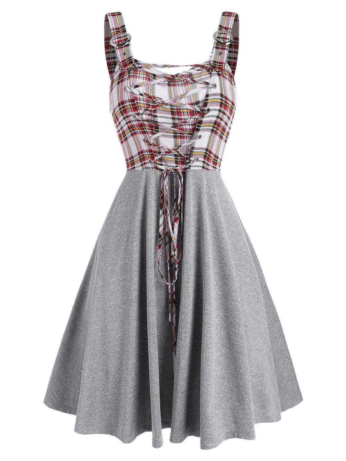 Sleeveless Plaid Print Lace-up Front Dress - multicolor A L
