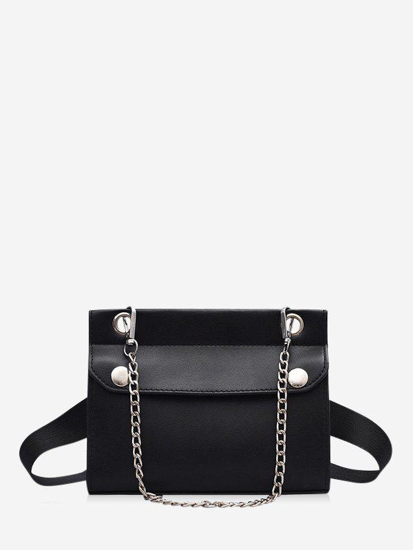 Chain Embellished Convertible Strap Mini Crossbody Bag - BLACK