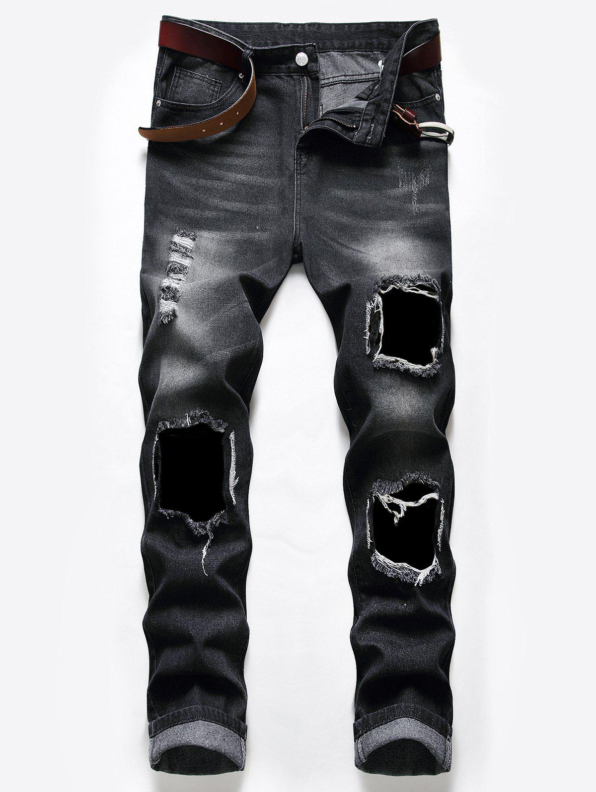 Long Destroy Wash Scratch Jeans - NATURAL BLACK 38