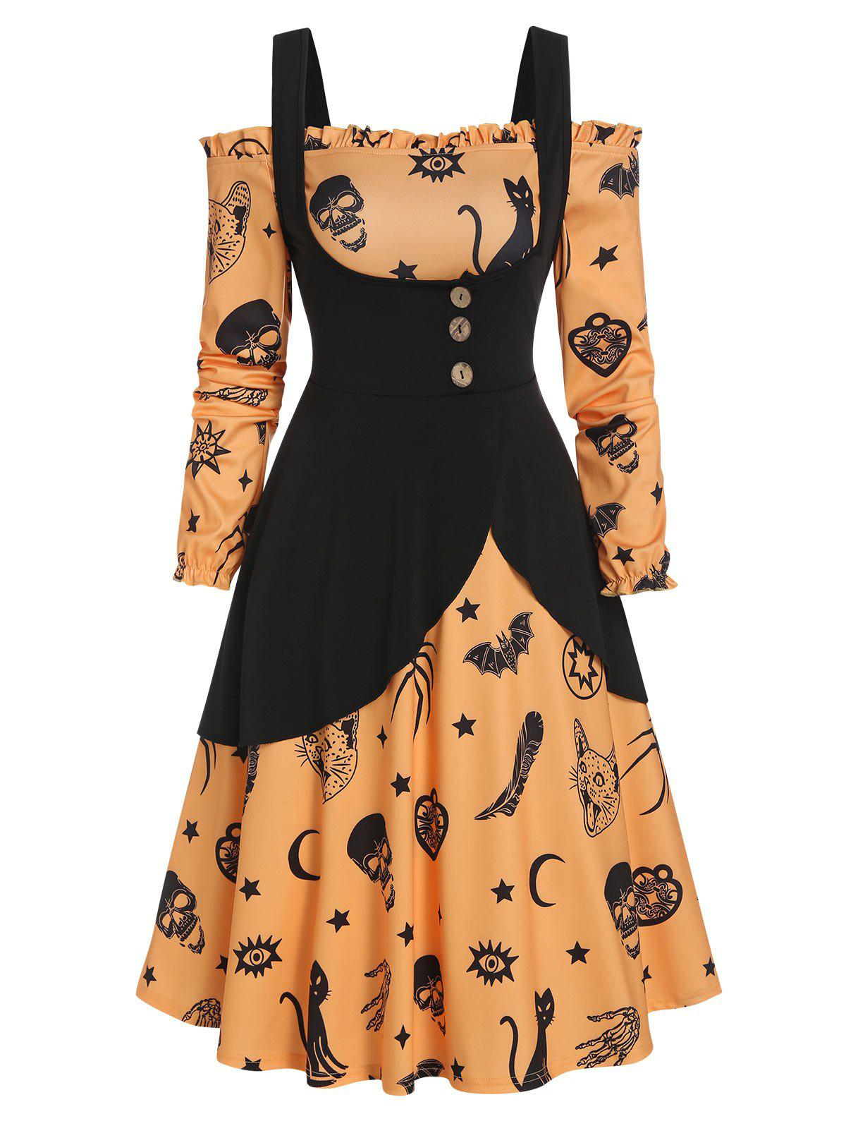 Halloween Printed Ruffled Trim Button Two Piece Dress - multicolor L